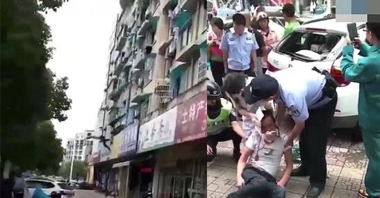 男子酒后与妻吵架从三楼跳下 头部砸中路边宝马车